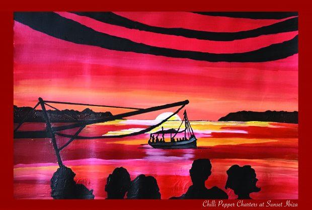 May in Ibiza where the boats set sail lovingly recreated by Sarah Milburn
