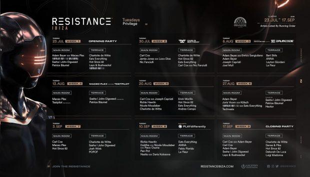 Resistance Privilege Ibiza 2019 Weekly Line Ups