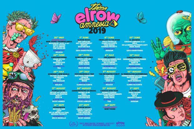 Elrow Amnesia Ibiza 2019 weekly line ups