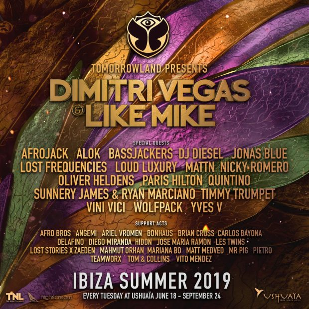 Dimitri Vegas & Like Mike Ushuaïa 2019 Season Line Ups