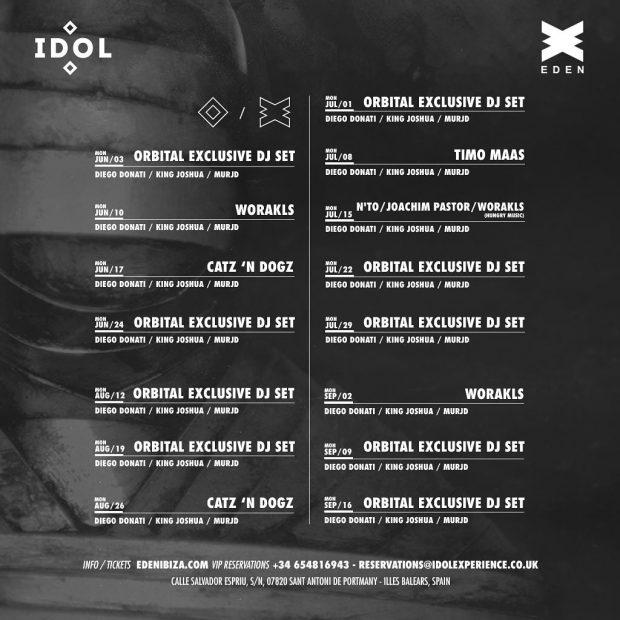 IDOL Eden Ibiza 2019 weekly line ups