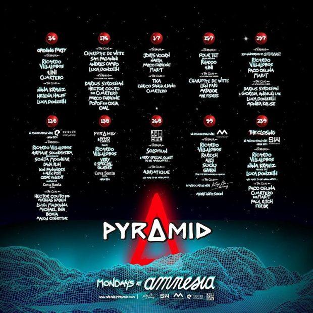 Pyramid Amnesia Ibiza 2019 weekly line ups
