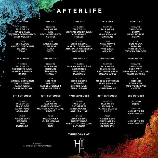 Afterlife Hï Ibiza 2019 Line Ups