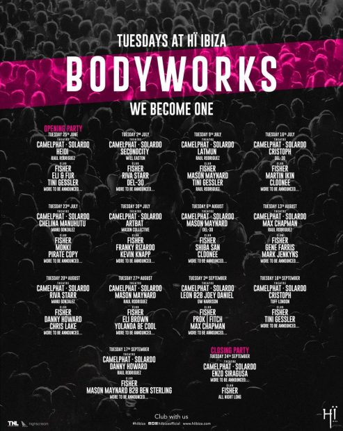 Bodyworks Hï Ibiza 2019 weekly line ups