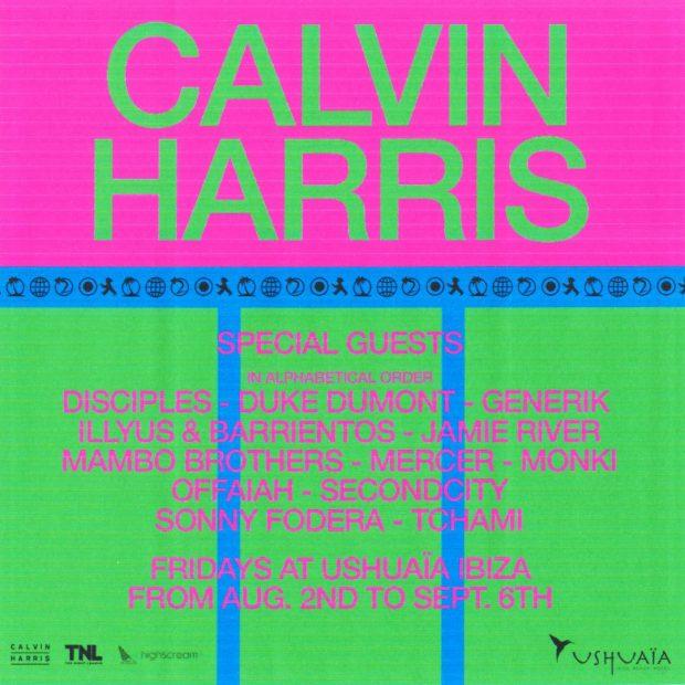 Calvin Harris Ushuaïa Ibiza 2019 Line Ups