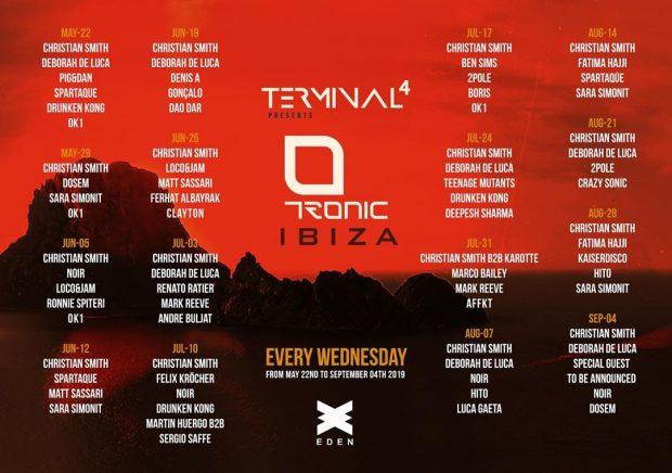 Tronic Eden Ibiza 2019 weekly line ups