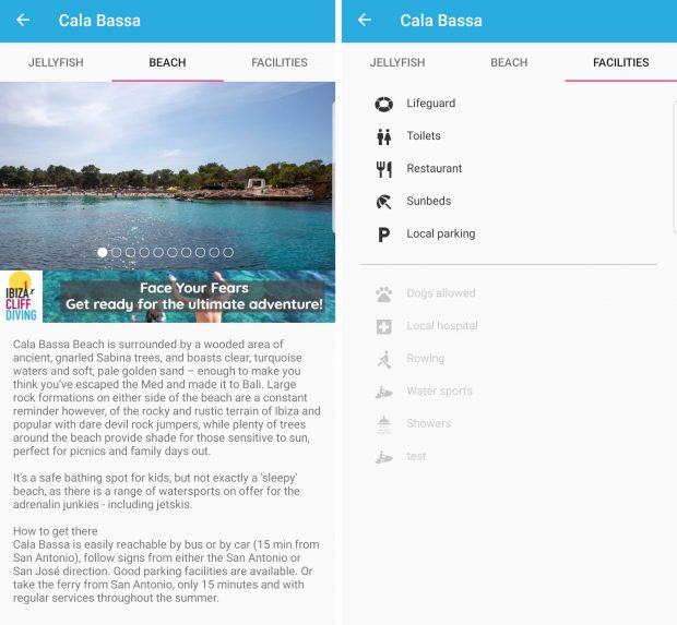The Medusas app also has useful information about each beach including description and facilities