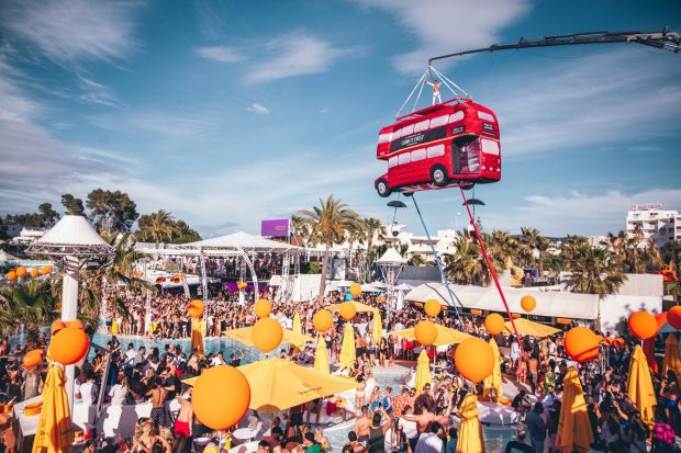 Where else would you find a london bus flying above your heads but O Beach Ibiza