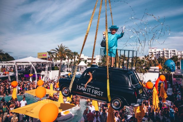 Or maybe the queen atop a black cab, only at O Beach Ibiza