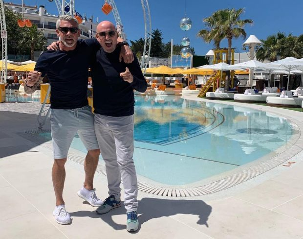 Wayne and business partner Tony Truman ahead of the O Beach Ibiza 2019 Opening