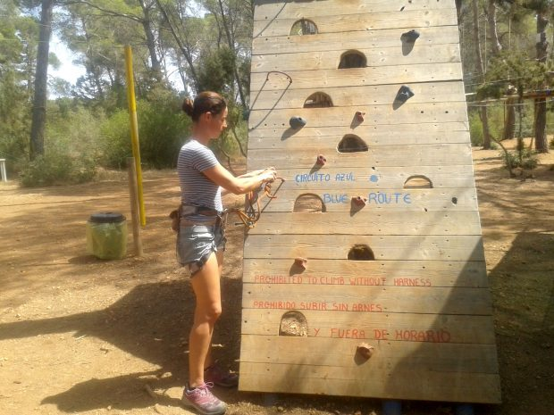 The start of the blue route at Acrobosc Ibiza Woodland Adventure Park