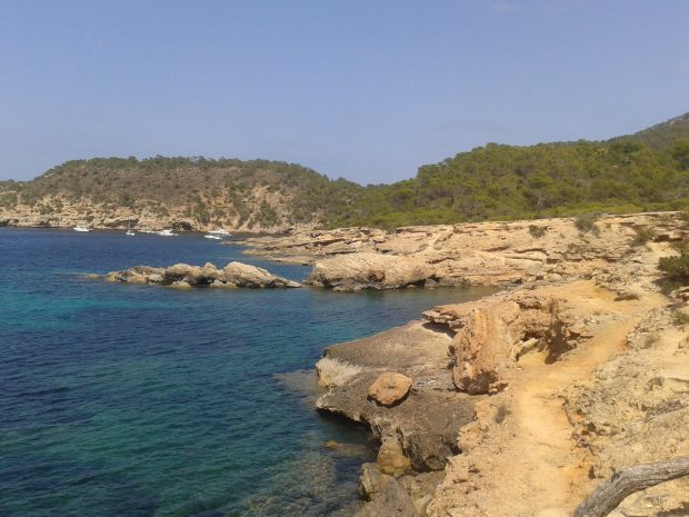 The dramatic coastline around Portinatx Ibiza