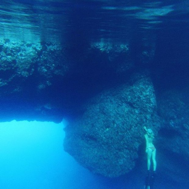 Freediving at the cave of light Ibiza
