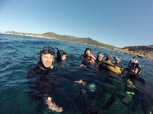 Louisa Collyns of Freedive Ibiza with a group of freedivers