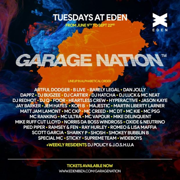 Garage Nation Eden Ibiza 2020 season line ups
